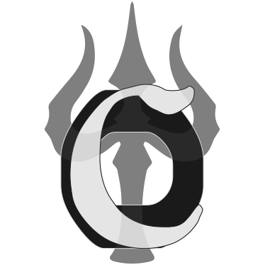 Omega Connection Icon Flat Light Grey on Black